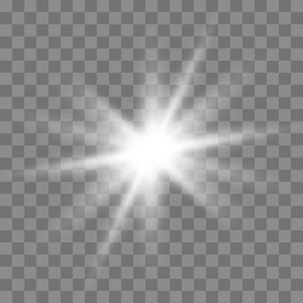 Wit gloeiend licht burst explosie op donker