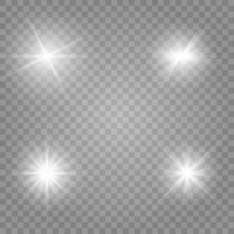 Wit gloeiend licht explodeert geïsoleerd. sprankelende magische stofdeeltjes. heldere ster.