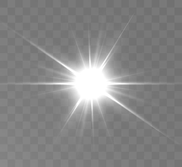 Wit gloeiend licht explodeert op een transparante achtergrond bright star
