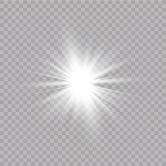 Wit gloeiend licht explodeert op een transparante achtergrond. met straal. transparante stralende zon, felle flits. speciaal lens flare lichteffect.