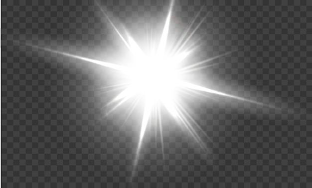 Wit gloeiend licht explodeert op een transparante achtergrond sprankelende magische stofdeeltjes