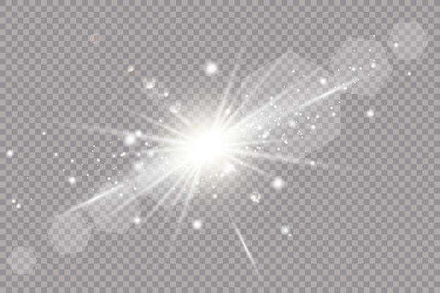 Wit gloeiend licht explodeert op transparant