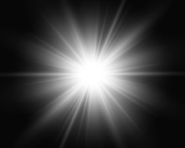 Wit gloeiend licht. mooi sterlicht van de stralen. een zon met highlights. een heldere mooie ster. een zonlicht.