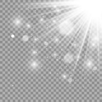 Wit gloeiend licht. mooie ster licht van de stralen. zon met lensgloed. heldere mooie ster. zonlicht.