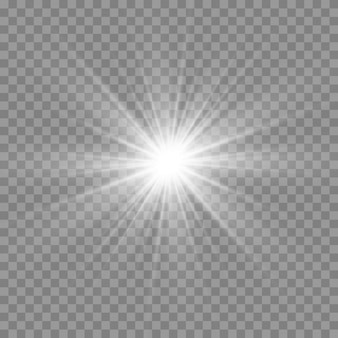 Wit gloeiend licht. mooie ster licht van de stralen. zon met lensgloed. heldere mooie ster.