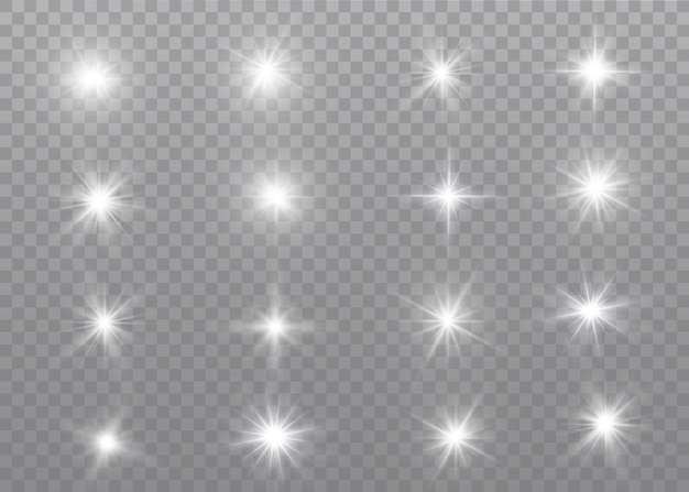 Wit gloeiend licht ontploft op een transparant