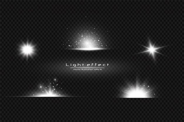 Wit gloeiend licht ontploft op een transparante achtergrond. met straal. transparante stralende zon, heldere flits. speciaal lens flare lichteffect.