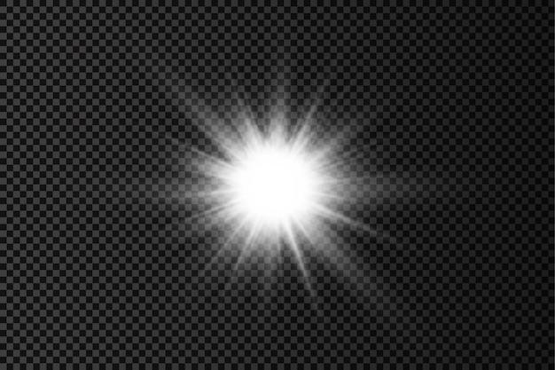 Wit gloeiend licht uitbarsting gloed heldere sterren zonnestralen lichteffect zonneschijn