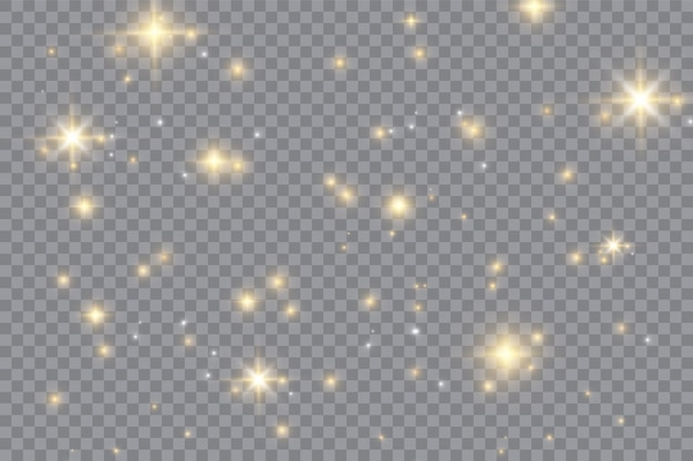 Wit gloeiend lichteffect geïsoleerd op transparante achtergrond. stralende gloed. magische glitterstofdeeltjes. ster barstte van glitters. vector illustratie