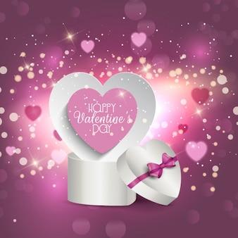 Wit hart doos op een paarse heldere achtergrond