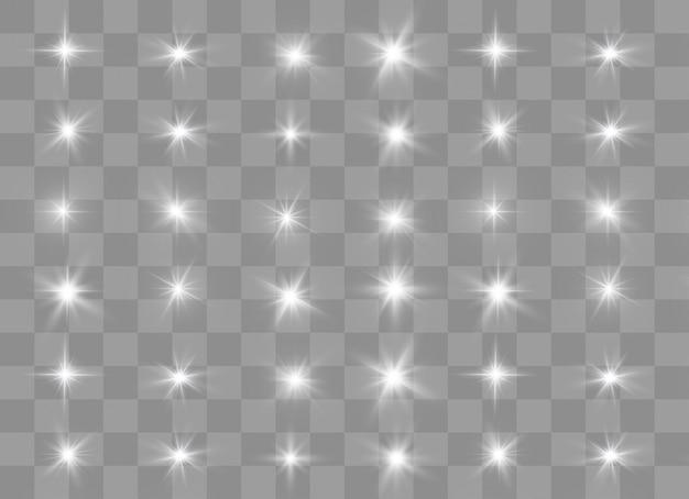 Wit het licht van een ster. sprankelende magische stofdeeltjes.