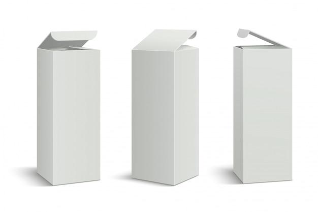 Wit hoog pakket. 3d-dozen mockup, cosmetische geneeskunde rechthoekige kartonnen verpakkingen.