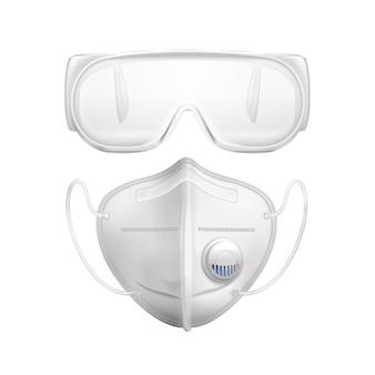 Wit individueel beschermend masker en veiligheidsbril