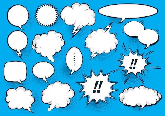 Wit komische tekstballon op blauw