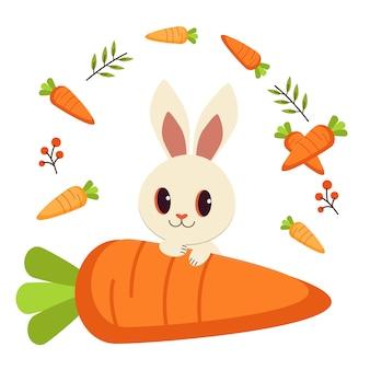 Wit konijn en veel wortel en blad.