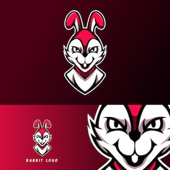 Wit konijn mascotte sport esport logo sjabloon