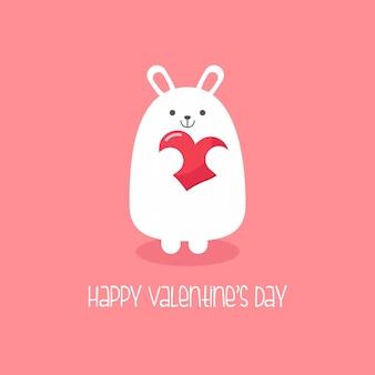 Wit konijn met hart