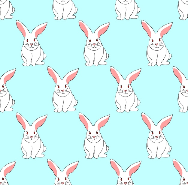 Wit konijn op blauwe munt achtergrond
