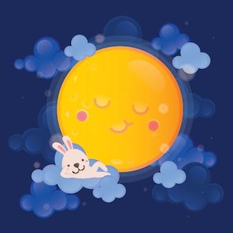 Wit konijntje op de maan met donkere hemel