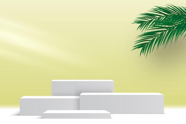 Wit leeg podium met palmbladeren en licht voetstuk productdisplayplatform beursstand
