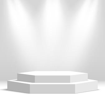 Wit leeg podium. voetstuk. tafereel. illustratie.