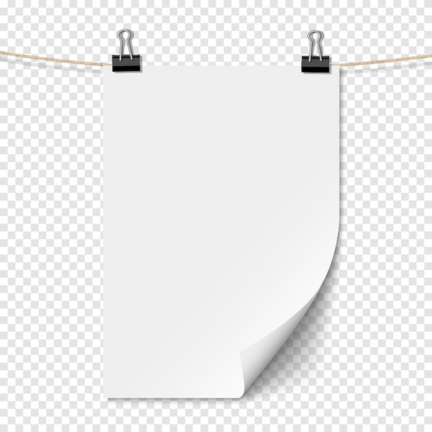 Wit leeg vel papier met schaduw op touw
