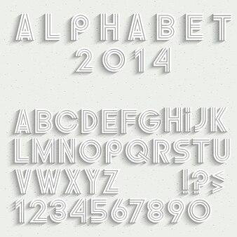 Wit lettertype, cijfers en leestekens met schaduw