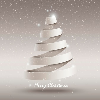 Wit lint kerstboom op besneeuwde achtergrond