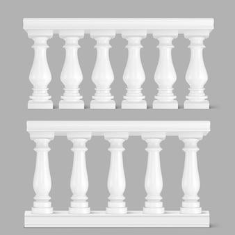 Wit marmeren balustrade, leuning voor balkon