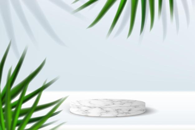 Wit marmeren platform voor productpresentatie