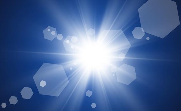 Wit mooi licht explodeert. heldere ster. transparante glans van het glansverloop, heldere flits.