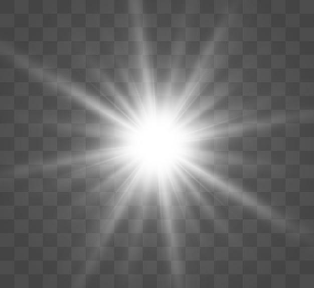 Wit mooi licht explodeert met een transparante explosie. , heldere illustratie voor een perfect effect met glitters. heldere ster. transparante glans van het glansverloop, heldere flits.