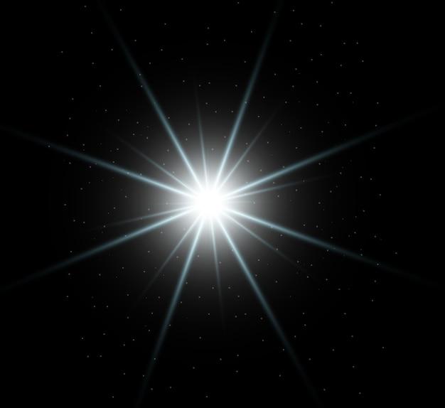 Wit mooi licht explodeert met een transparante explosie. vector, heldere illustratie voor een perfect effect met glitters. heldere ster. transparante glans van het glansverloop, heldere flits.