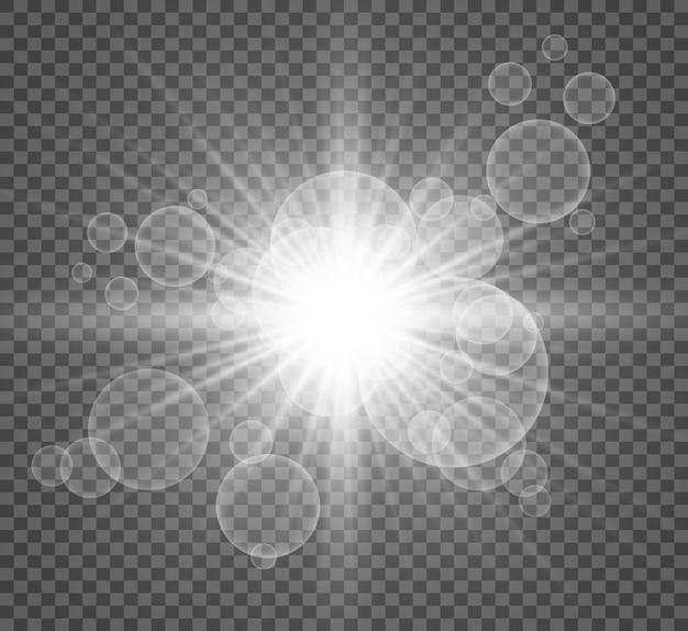 Wit mooi licht explodeert met een transparante explosie.