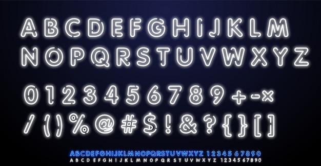 Wit neonlicht alfabet vector lettertype. typ letters, cijfers en leestekens. neon buis letters