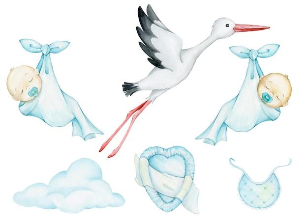Wit, ooievaar, baby's, slapen, gewikkeld in een laken, wolk, kleren. aquarel set, elementen, voor, feestelijk, illustraties.