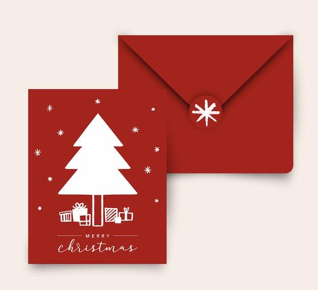 Wit op rode kerstboom met geschenken wenskaart met envelop