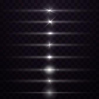 Wit pakket met horizontale lensfakkels. wit gloeiend licht explodeert op een transparante achtergrond. lichtgevende abstracte sprankelende lijnen. om een heldere flits te centreren. heldere ster.