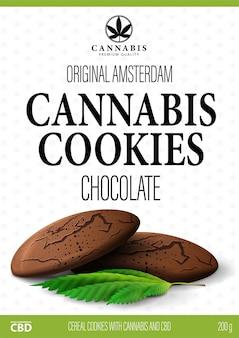 Wit pakketontwerp met chocoladekoekjes van cannabis en marihuanabladen. wit omslagontwerp van cannabisproducten