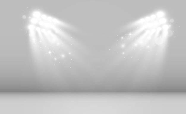 Wit podium met schijnwerpers vectorillustratie