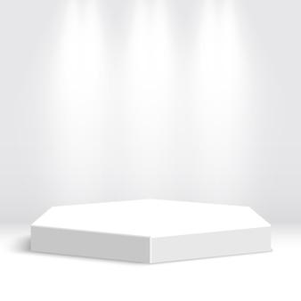 Wit podium. voetstuk. tafereel. illustratie.