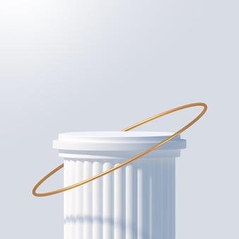 Wit podium voor productpresentatie podium podium met gouden ring