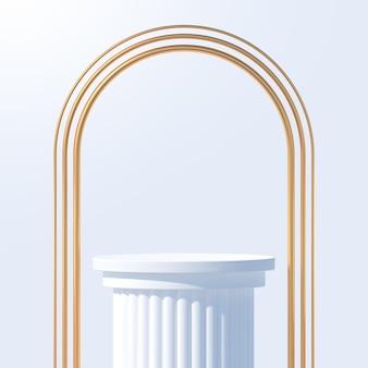 Wit podium voor productpresentatie podiumpodium met gouden bogen