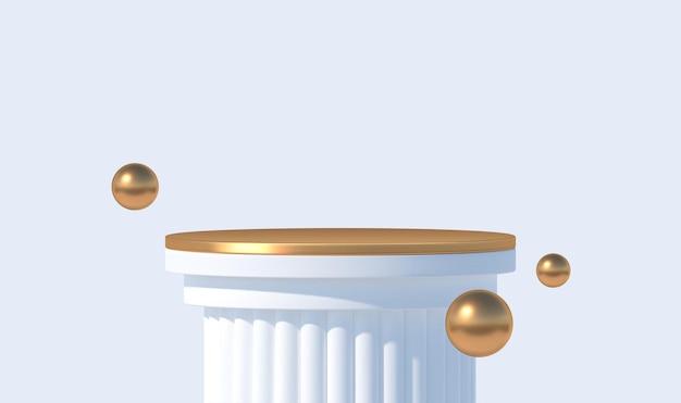 Wit podium voor productpresentatie podiumpodium met gouden platform en bollen