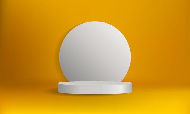 Wit podiumpodium geïsoleerd op geel