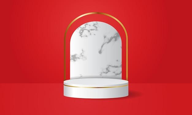 Wit podiumpodium versierd met marmeren muur
