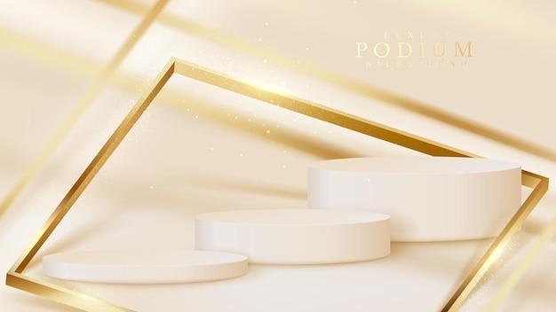 Wit productshowpodium met gouden diagonale lijn en sprankelende glinsterende lichteffectenelementen