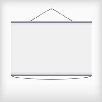 Wit projectiescherm dat aan de muur hangt