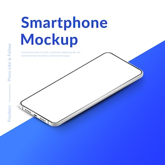 Wit realistisch isometrisch smartphonemodel. mobiele telefoon met leeg wit scherm. moderne mobiele telefoon sjabloon op verloop achtergrond. illustratie van het apparaatscherm