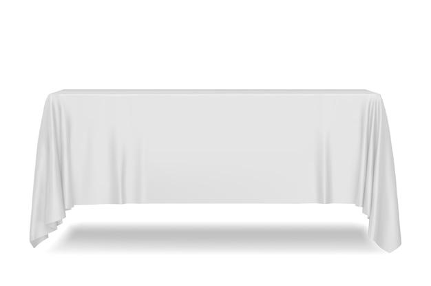 Wit rechthoekig tafelkleed dat op wit wordt geïsoleerd